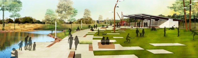 The Greenline park at Brooks City Base will have plenty of room for play, but will also serve as a way to manage water quality and storm water runoff. Rendering courtesy of Brooks City Base.