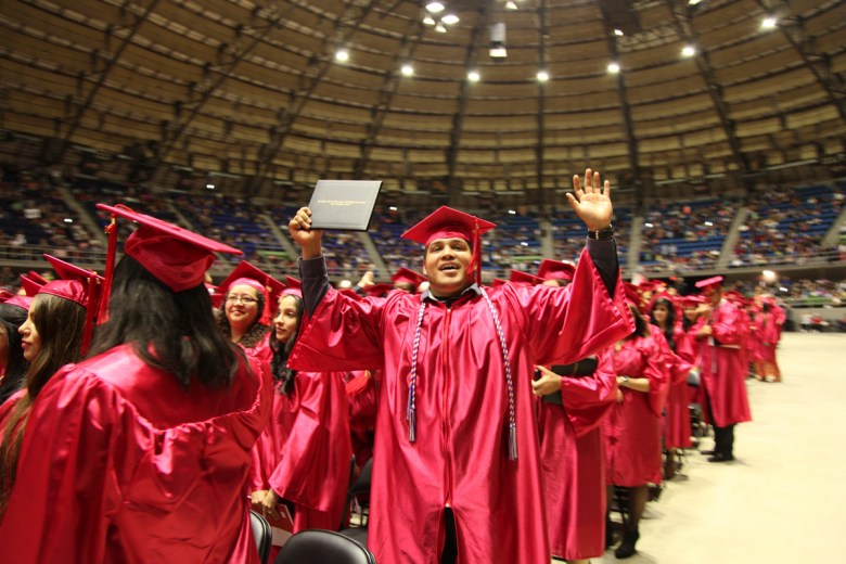 SAC students file out of the Freeman Coliseum after the May 2015 Commencement Ceremony on Saturday, May 9, 2015. Photo courtesy of San Antonio College.