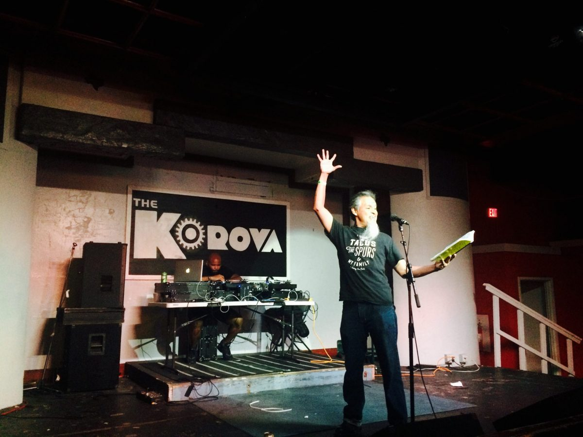 """Anthony """"The Poet"""" Flores performs at Puro Slam at Korova. Photo courtesy of Adam Tutor"""