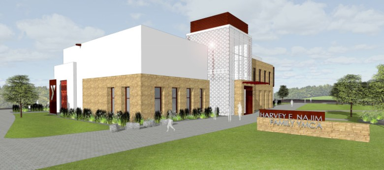 Western view of the Harvey E. Najim Family YMCA. Rendering courtesy of YMCA.