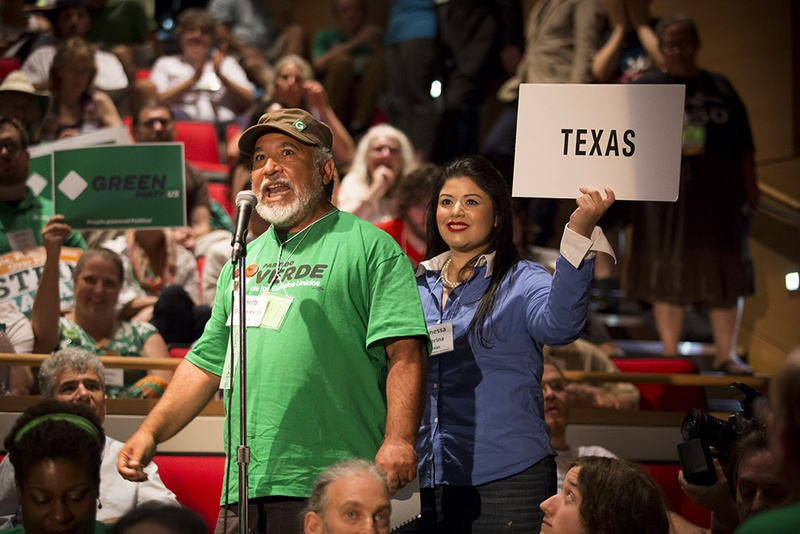 Texas delegate Herb Gonzales, Jr. announces the state's votes for president at the Green Party's national convention in Houston on Saturday, August 6, 2016. Photo by Michael Stravato for The Texas Tribune.