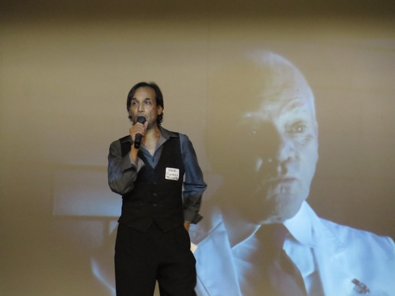 Actor Jesse Borrego addresses members of the San Antonio film community at the Guadalupe Cultural Arts Center. Photo by James McCandless