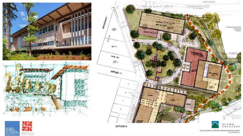 Alamo Colleges revised Option A site plan rendering. Courtesy of ford, powell & carson and WestEast Design Group. (click to enlarge)