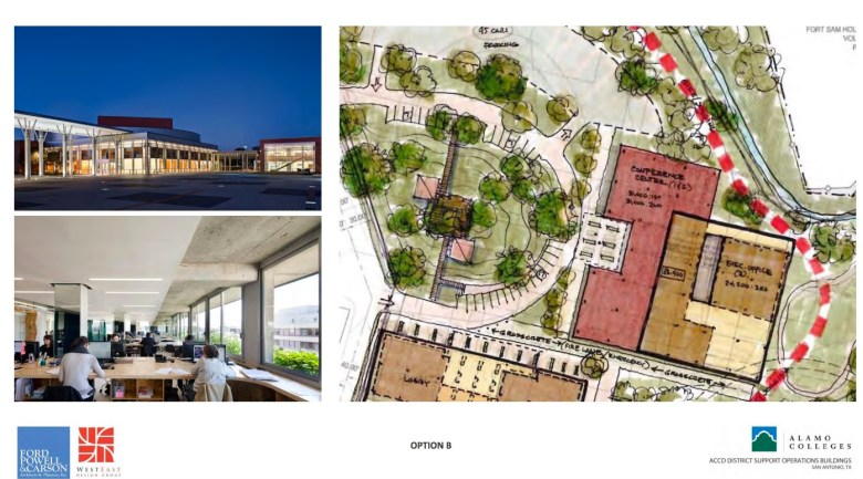 Alamo Colleges revised site plan rendering. Courtesy of ford, powell & carson and WestEast Design Group. (click to enlarge)