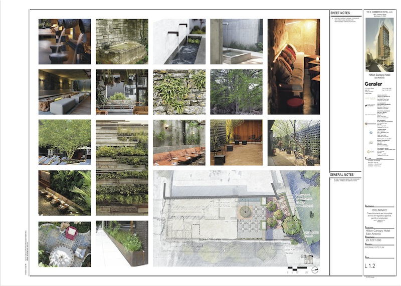 Patio configuration for the Hilton hotel under development by Crockett Urban Ventures on Commerce Street.