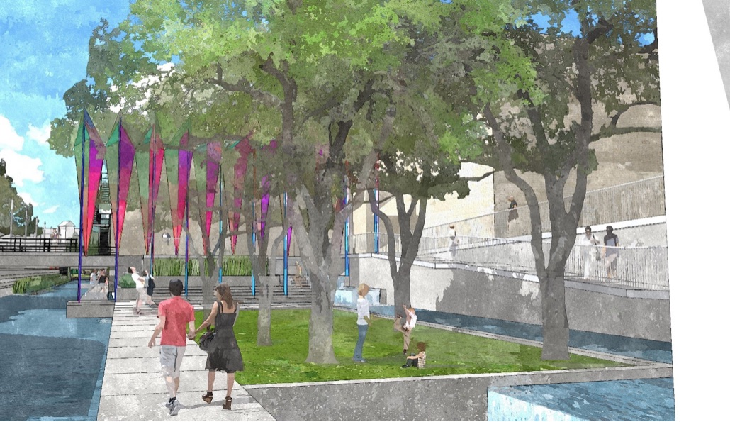 Portion of San Pedro Creek where the former Dollar General on Commerce Street currently sits. Rendering courtesy of Muñoz & Co.