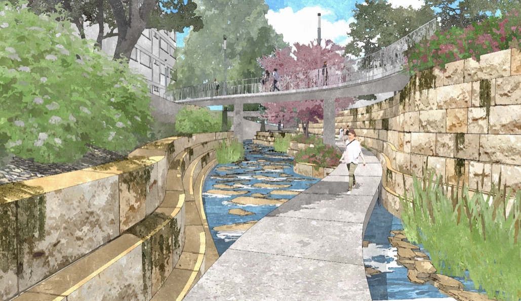 Portion of San Pedro Creek underneath Nueva Street near the Bexar County Courthouse property. Rendering courtesy of Muñoz & Co.