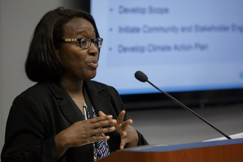 Interim Director of Planning and Community Development Bridgett White goes over the Comprehensive Plan during B Session. Photo by Scott Ball.