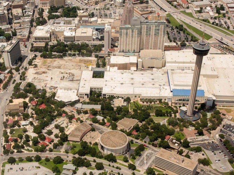 An aerial photograph of Hemisfair and the Henry B. Gonzalez Convention Center. Photo by Scott Ball.