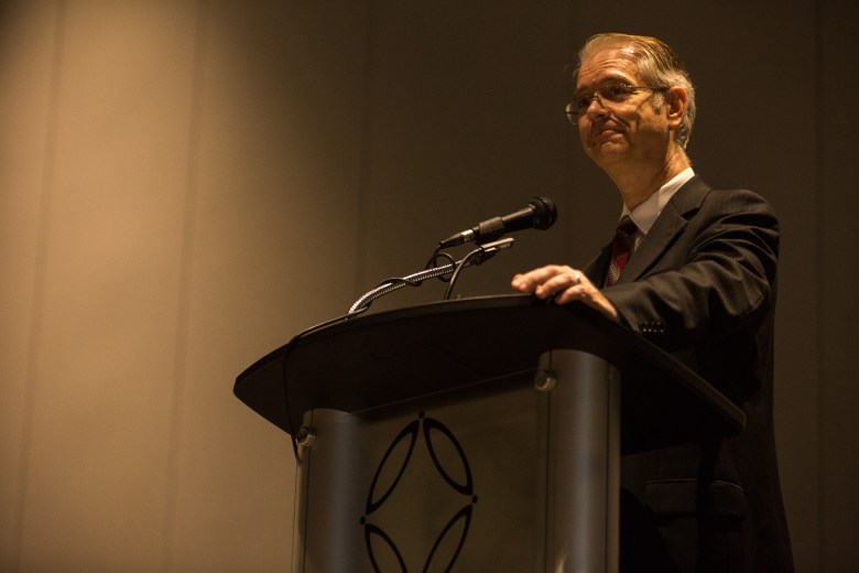 Dr. Gregory White gives his acceptance speech after being inducted into the San Antonio Cybersecurity Hall of Honor. Photo by Scott Ball.