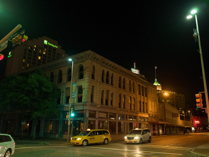 The corner of East Houston Street and Soledad Street currently offers a variety of mixed color temperature lighting. Photo by Scott Ball.