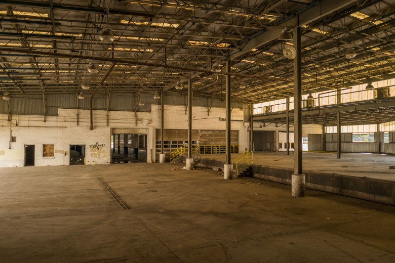 The interior of a large warehouse that was built in the 1970's. Photo by Scott Ball.