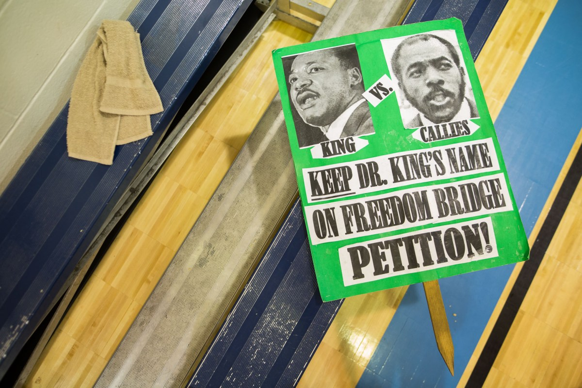 A picket sign protesting the potential renaming of the MLK Freedom Bridge. Photo by Scott Ball.