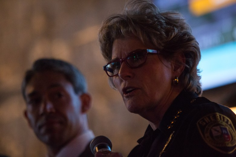 Bexar County Sheriff Susan Pamerleau speaks to her main concerns in her area which rest on public safety. Photo by Scott Ball.