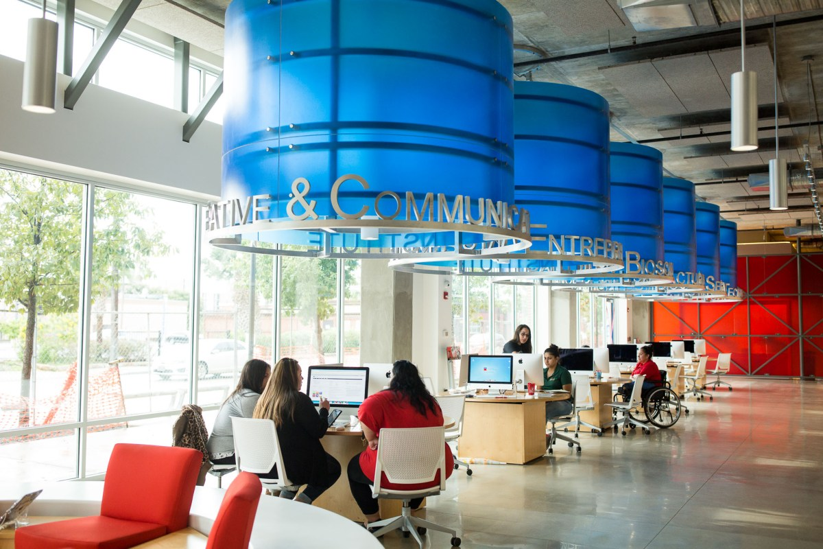 The San Antonio College Welcome Center is outfitted with computers and staff to guide students and future students through the school process. Photo by Scott Ball.
