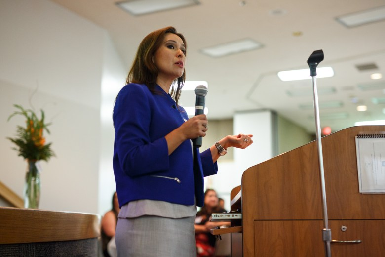 SA Works Executive Director Romanita Matta-Barrera opens the event as she introduces herself. Photo by Scott Ball.