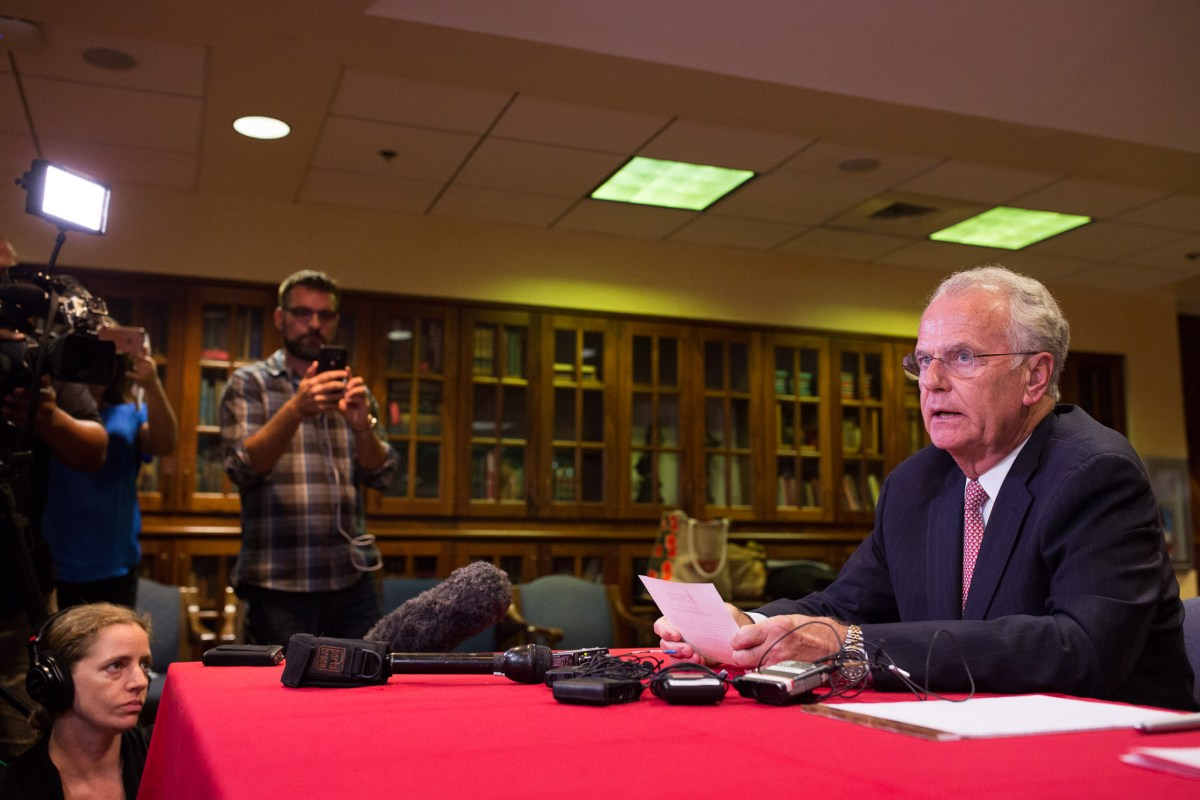 UIW Board Chairman Charles Lutz reads from prepared remarks after the board unanimously voted to remove longtime President Lou Agnese Jr. Photo by Scott Ball.