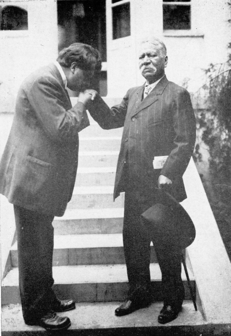 Dr. Aureliano Urrutia's father, Pedro Urrutia, owned a bread bakery in Xochimilco, México. Here in 1912, on the Doctor's 40th birthday, the son is seen kissing his father's hand or ring, a common occurrence in the family. Photo courtesy of Urrutia Photo Collection.