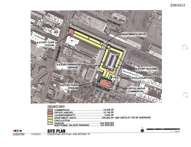 Conceptual site plan for the properties located at 1334 S. Flores St. and 205-223 East Cevallos Street.  Courtesy of Alamo Architects.