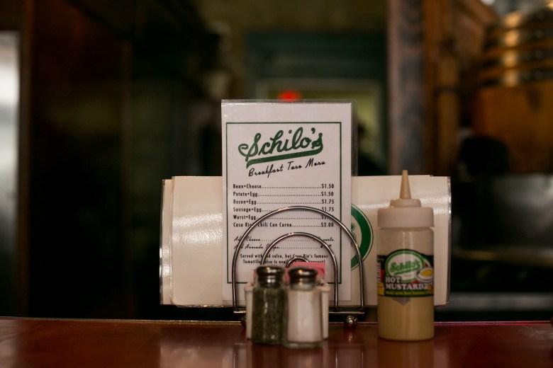 The Schilo's breakfast menu and famous hot mustard sauce. Photo by Kathryn Boyd-Batstone.