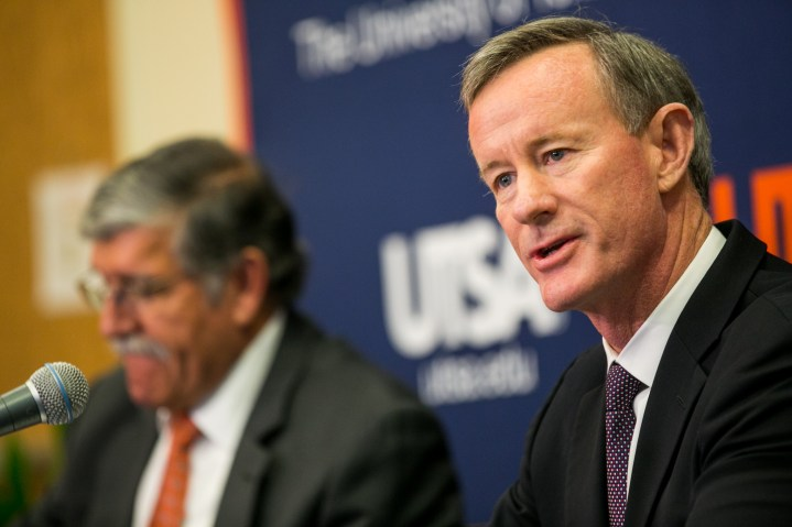 UT System Chancellor Admiral William McRaven announces that UTSA will be conducting a nation-wide search for a new president. Photo by Kathryn Boyd-Batstone.