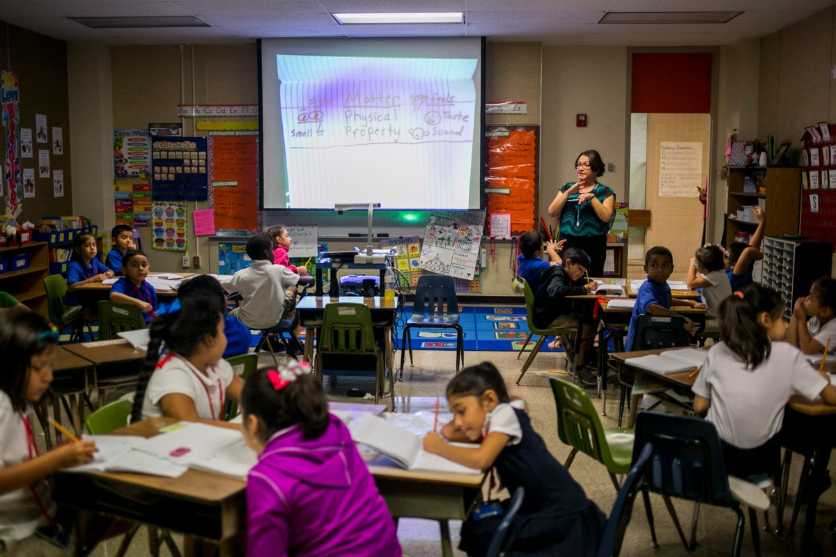 A classroom at J T Brackenridge Elementary School which has no windows. Photo by Kathryn Boyd-Batstone.