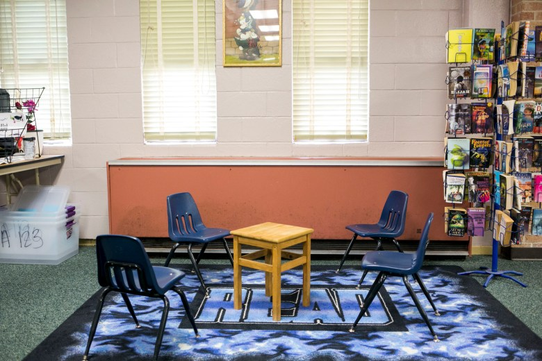 The air conditioners at Tafolla Middle School rattle loudly throughout the day. Photo by Kathryn Boyd-Batstone.
