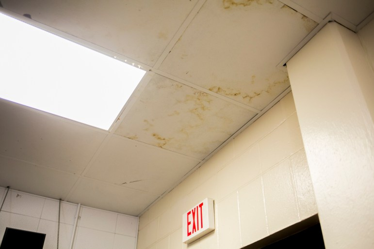 The air conditioner at Tafolla Middle School is leaking through the ceiling of the band room. Photo by Kathryn Boyd-Batstone.