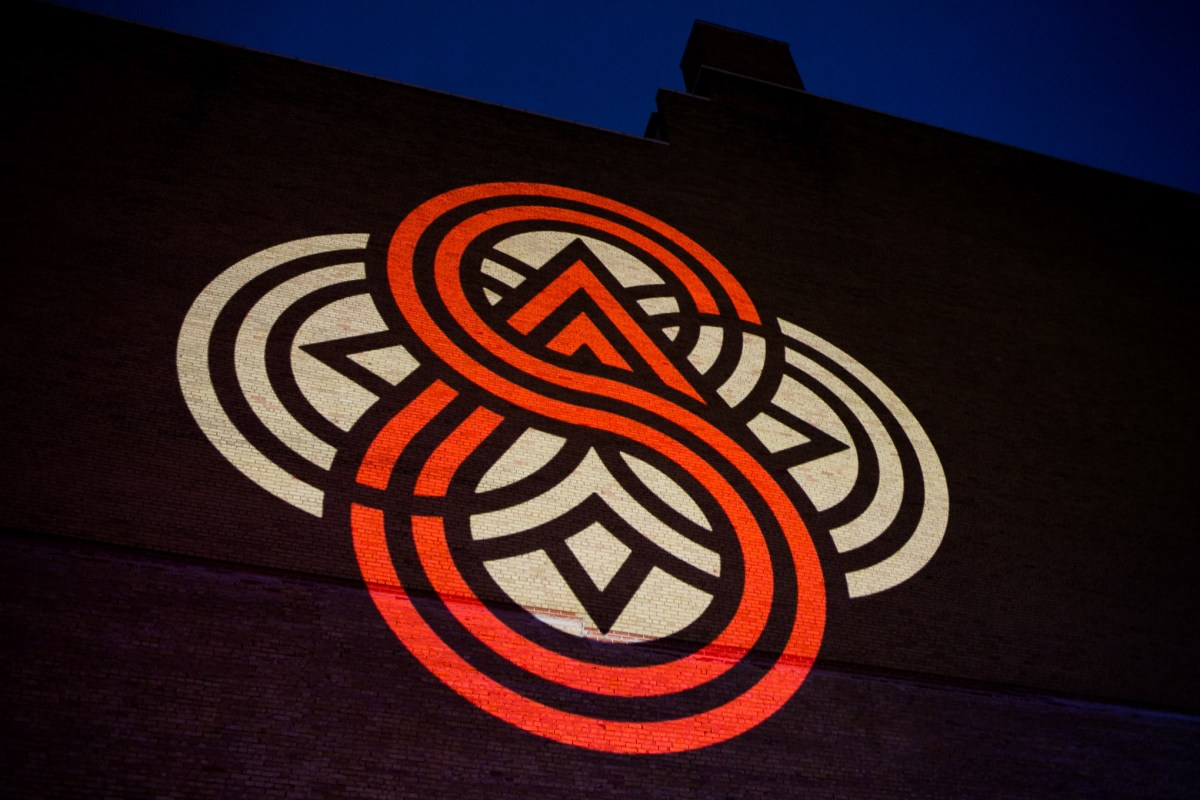The new downtown logo depicts a compass pointing north. Photo by Kathryn Boyd-Batstone.