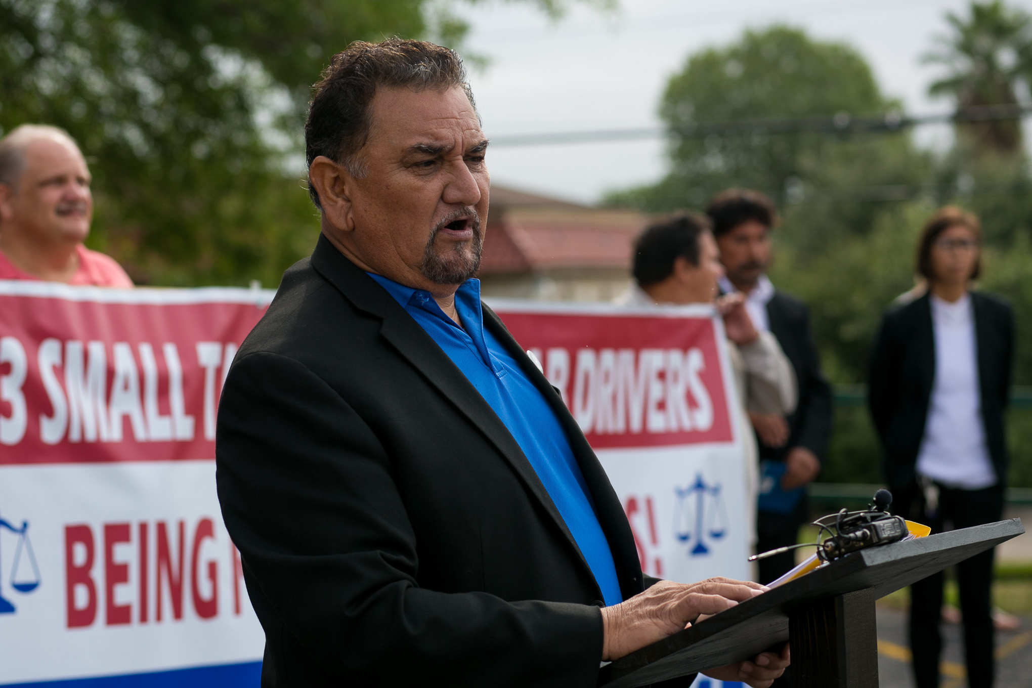 Transportation Safety Coalition member Robert Gonzales asks for the same rights as Rideshare drivers. Photo by Kathryn Boyd-Batstone.
