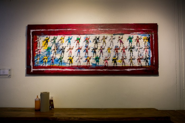 An art piece by Jorge Rojo of 43 luchadores, symbolizing the 43 students from Ayotzinapa that disappeared in the city of Iguala in Guerrero, Mexico. Photo by Kathryn Boyd-Batstone.