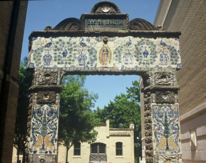The Urrutia arch was moved, in approximately 1997, to the San Antonio Museum of Art courtesy of the efforts of a group of caring citizens. Today, it too looks to be in need of restoration. Photo by Elise Urrutia, 2011.