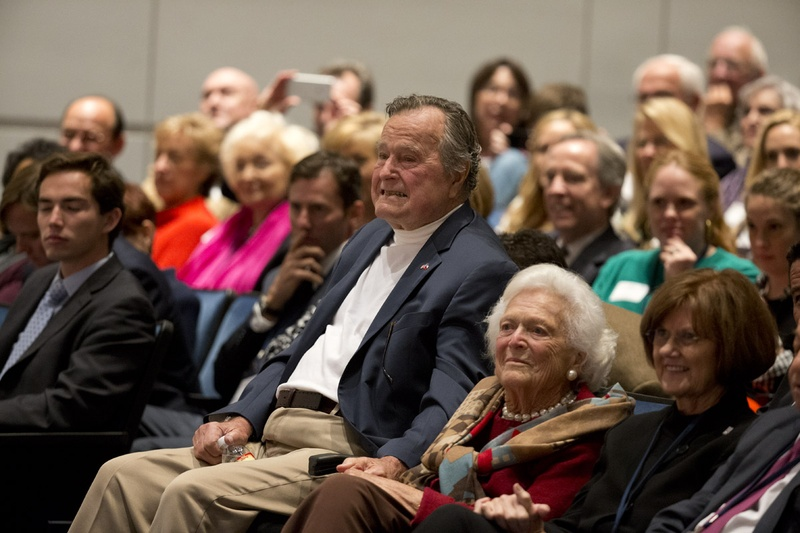 Former President George H.W. Bush and former First Lady Barbara Bush at Texas A&M University on Nov. 11. Photo by Bob Daemmrich for the Texas Tribune.