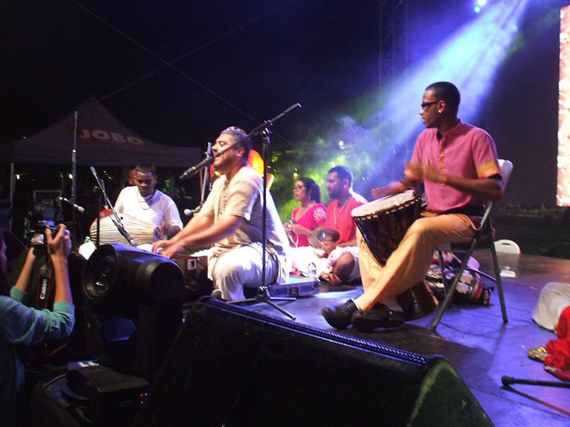 Amala Kirtan Das performs in Panama. Photo courtesy of Chant4Change.