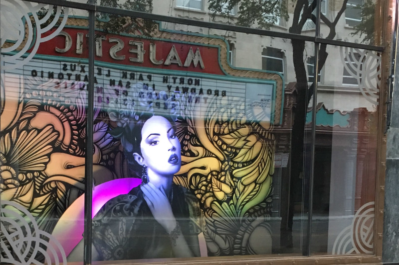 A mural by David 'Shek' Vega and Nik Soupe on Houston Street, across from the Majestic Theater. Photo courtesy of Centro San Antonio.