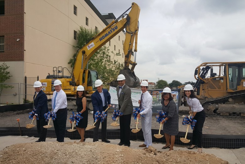 City of San Antonio, NRP Group, and Zachry Realty employees prepare to overturn soil at the groundbreaking ceremony. Photo Courtesy of the City of San Antonio Center City Development & Operations Department