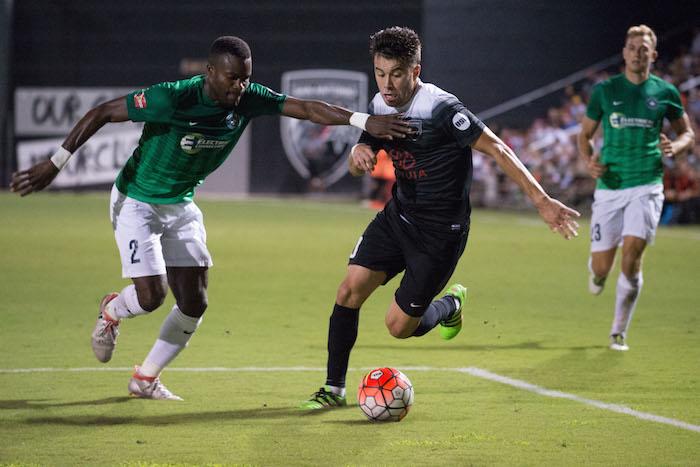 Carlos Alvarez scored San Antonio FC's lone goal against Saint Louis FC Saturday night at Toyota Field. Photo by Darren Abate for USL.