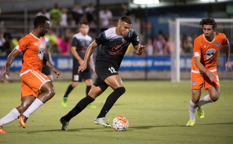 Forward Taylor Morgan's efforts helped San Antonio FC secure the win against Tulsa Roughnecks FC.  Photo by Darren Abate for USL.