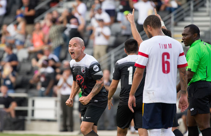 Rafael Castillo reacts during San Antonio FC's game against Arizona United on Sunday at Toyota Field. Photo by Darren Abate for USL.