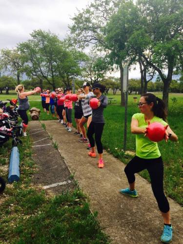 Fit4Mom instructor Erin DiNicola teaches Stroller Strides. Photo courtesy of Fit4Mom.