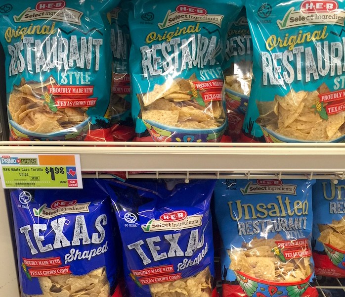 """The new H-E-B """"Select Ingredients"""" chips bear the signature green check mark. Photo courtesy of H-E-B."""