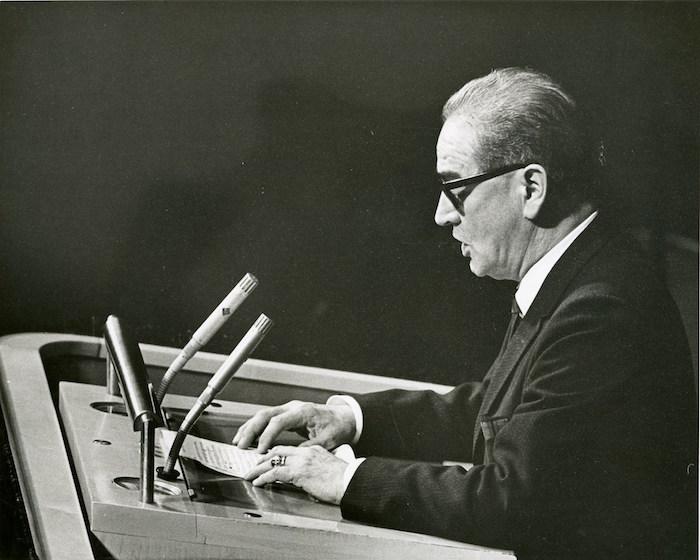 Dr. Héctor P. García gives a speech. Photo courtesy of the Dr. Héctor P. García Memorial Foundation.