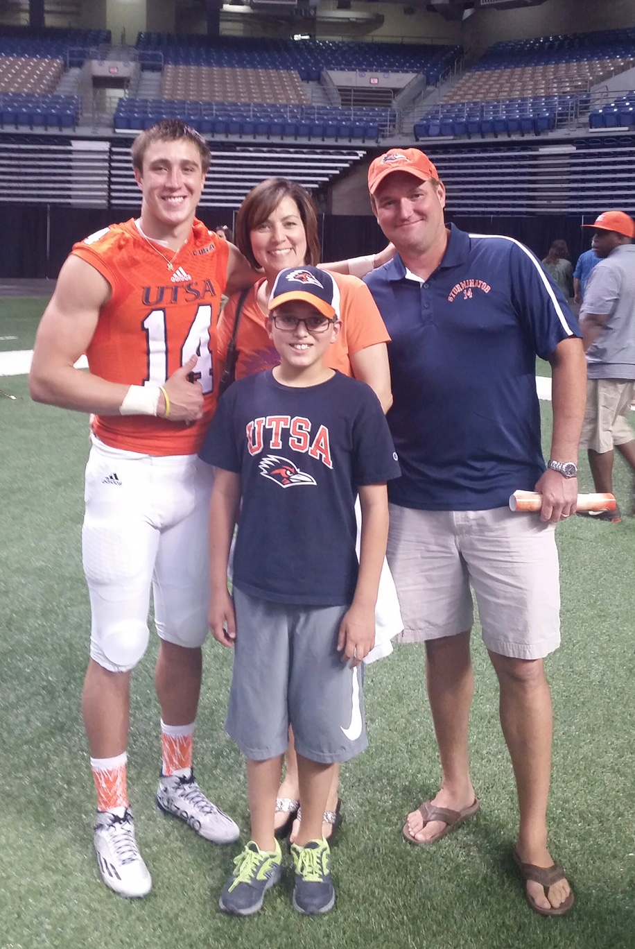 (left to right) Dalton Sturm, Mother Gaylynn Diebel, Stepbrother Peyton Diebel, and his Stepfather Chad Diebel taken in the Alamodome in 2015. Courtesy photo.