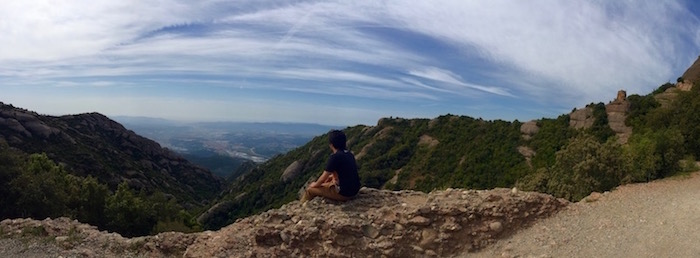 Antonio Frietze sits at Montserrat in Catalonia, Spain. Photo by Antonio Frietze.