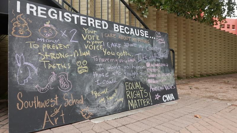 The community chalkboard provided by MOVE SA. Photo by Hannah Lynn.