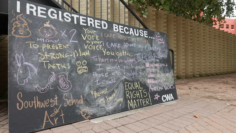 The community chalkboard provided by MOVE SA. Photo by Hannah Lynn.
