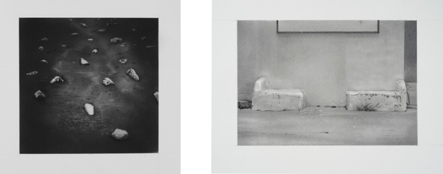 Untitled (Rocky Road), 2014, graphite on paper, 8 x 8 in. (not in exhibition). / Untitled (Laredo Benches), 2016, graphite on paper, 7 x 10 in. Photos courtesy of Kent Rush.