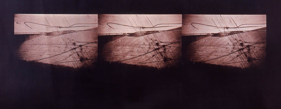 Overpass, 1988, toned cyanotype on paper, 20 x 48 in., (not in exhibition). Photo courtesy of the Kent Rush.