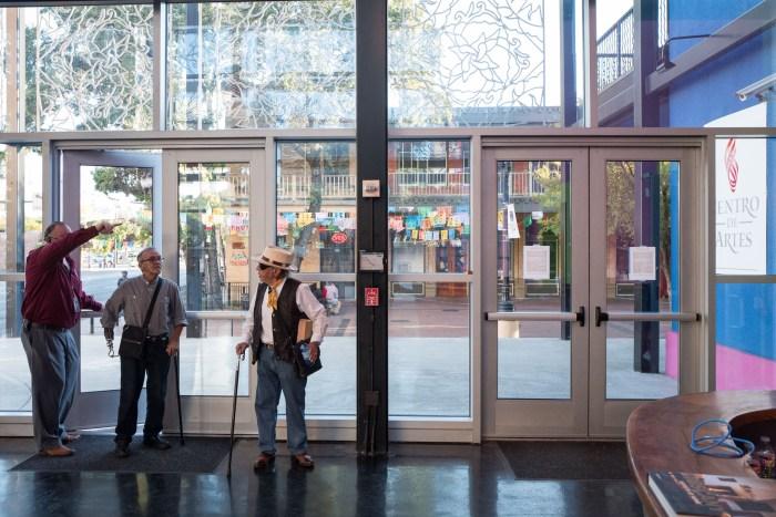 Jorge Cortez and Jesse Treviño arrive to Centro de Artes for the public discussion. Photo by Scott Ball.