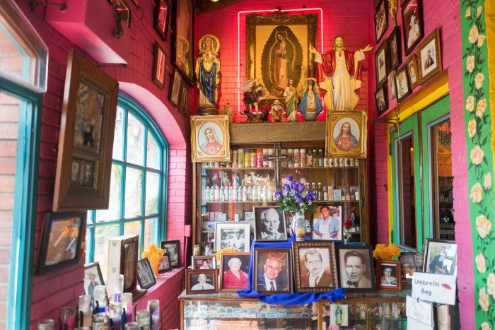The entrance to Mi Tierra plays homage to Cortez family members and religious figures. Photo by Scott Ball.
